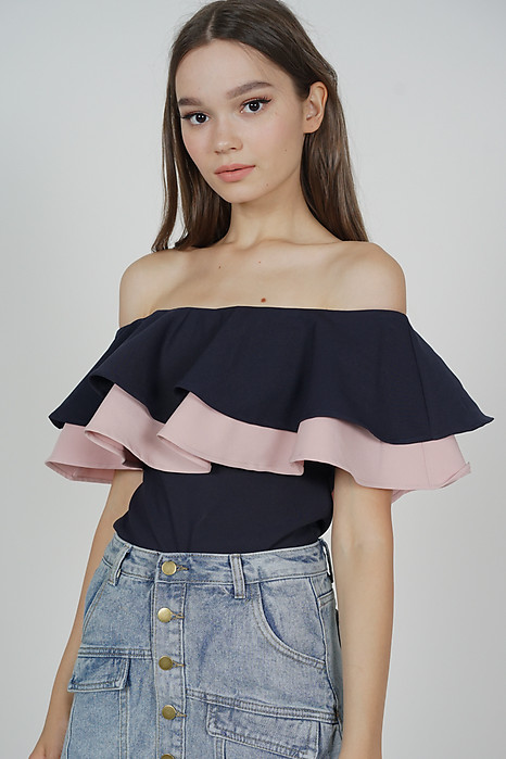 Flounce Layer Top in Midnight Pink - Arriving Soon