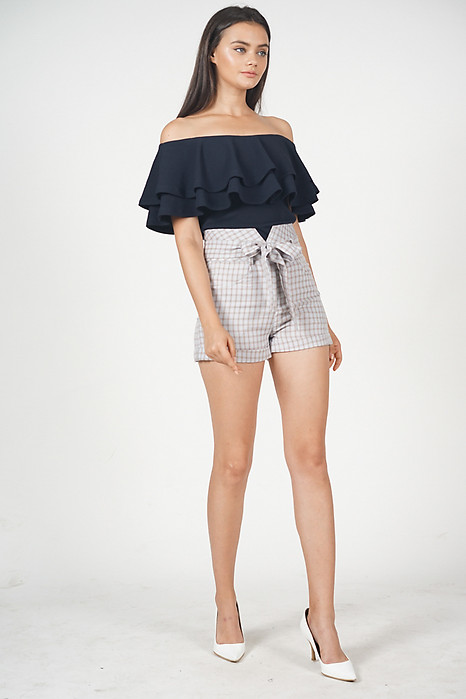 Flounce Layer Top in Navy