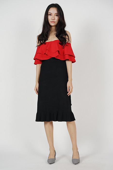 Flounce Layer Top in Red