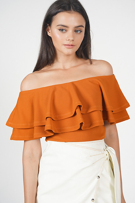 Flounce Layer Top in Rust