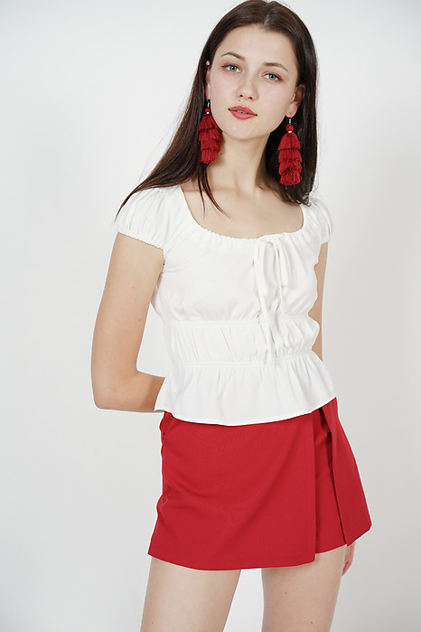Gathers Drawstring Top in White