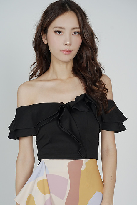 Flounce Ruffled Top in Black - Arriving Soon