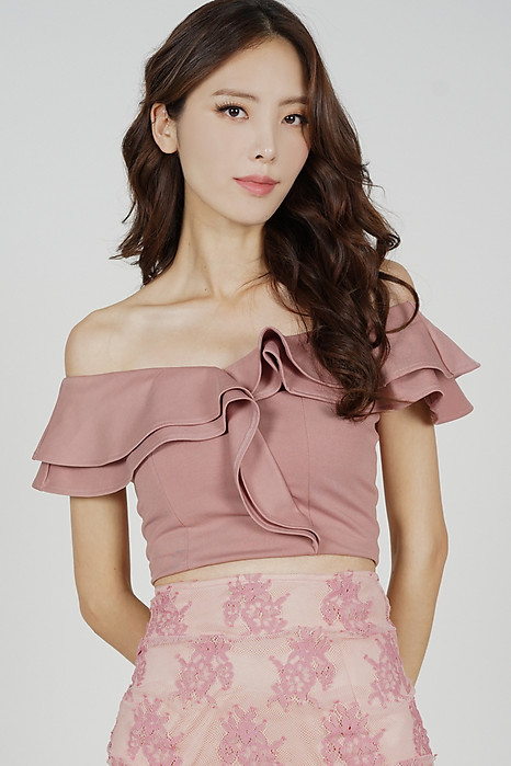 Flounce Ruffled Top in Mauve - Arriving Soon