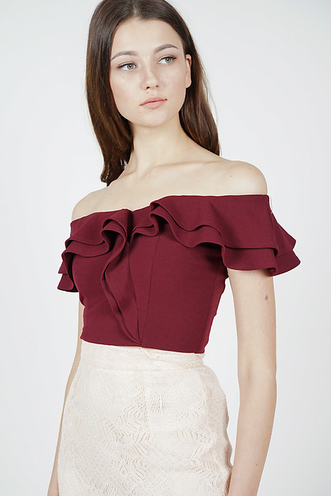 Flounce Ruffled Top in Oxblood - Arriving Soon