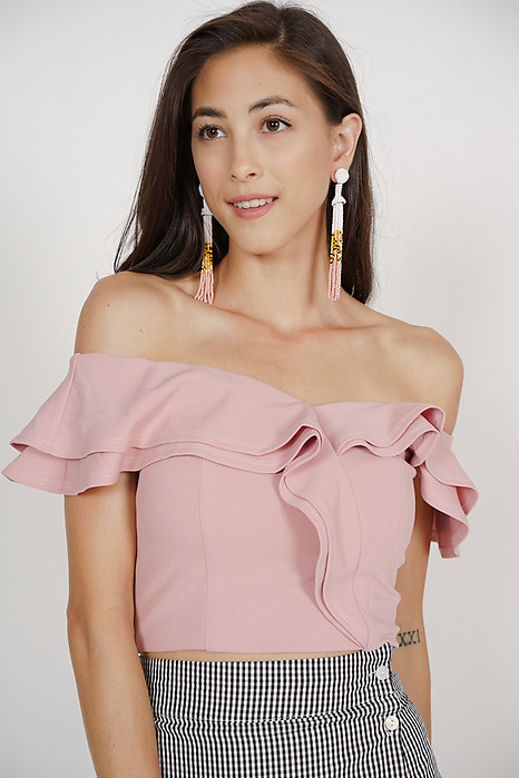 Flounce Ruffled Top in Pink