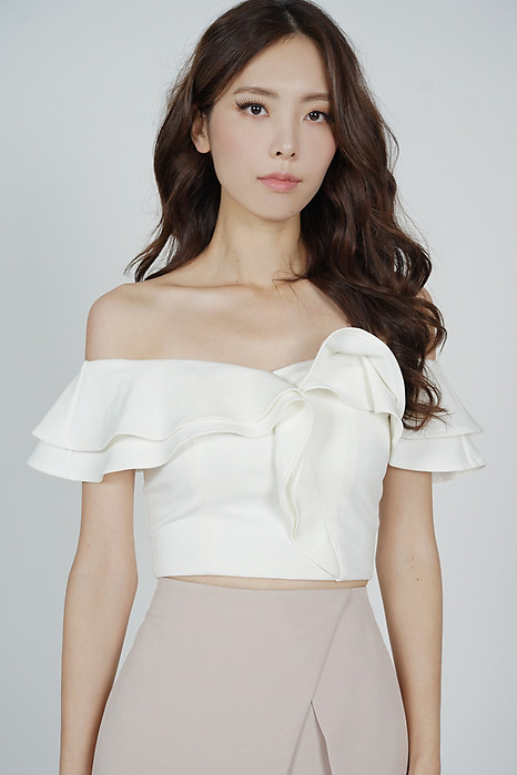 Flounce Ruffled Top in White - Arriving Soon
