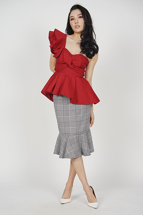 Peplum Toga Top in Red