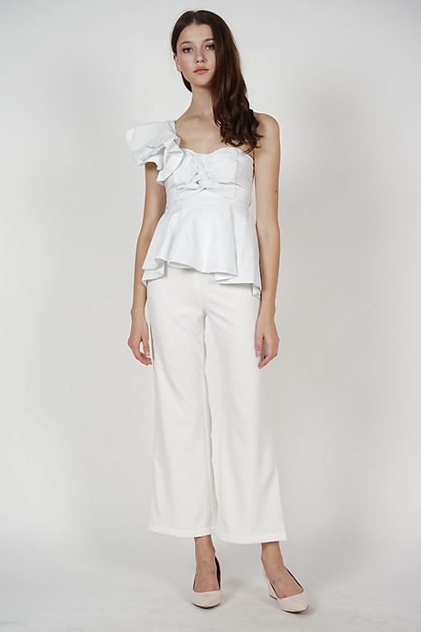 Peplum Toga Top in White - Arriving Soon