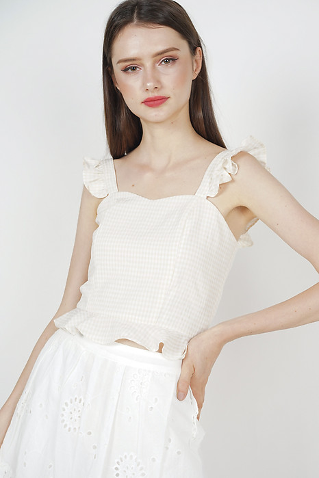 Frilly Peplum Top in Cream Checks - Arriving Soon