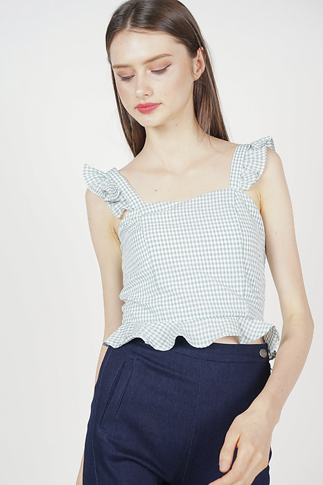 Frilly Peplum Top in Grey Checks - Arriving Soon