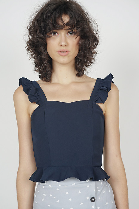 Frilly Peplum Top in Midnight - Arriving Soon