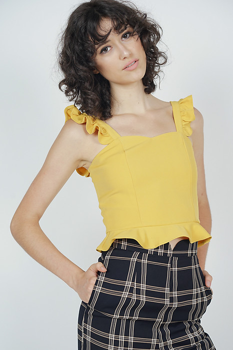 Frilly Peplum Top in Mustard - Arriving Soon