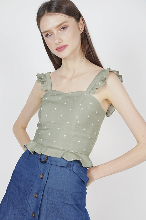 Frilly Peplum Top in Olive Polka Dots - Arriving Soon