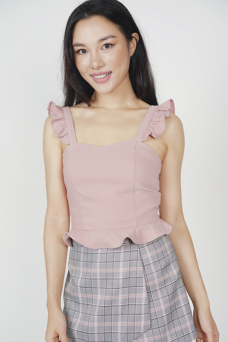 Frilly Peplum Top in Pink