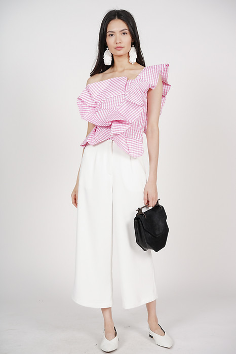 Peplum Toga Top in Pink White Gingham