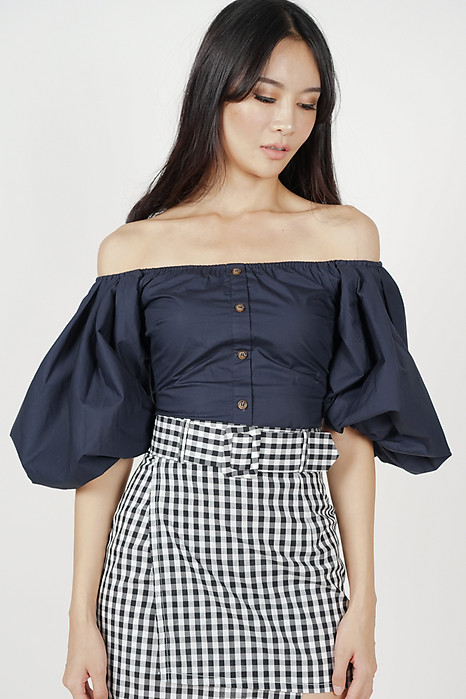 Puffy Sleeves Top in Midnight