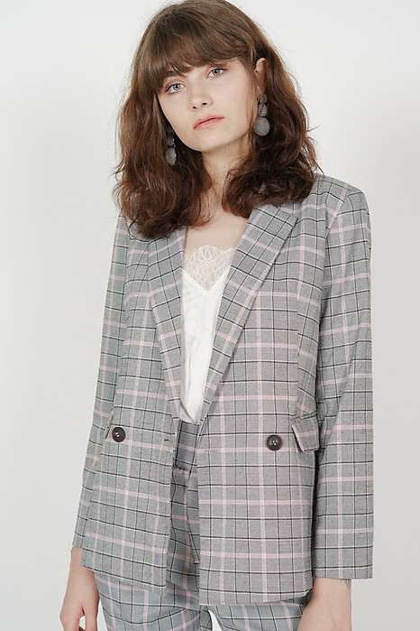 Contemporary Buttoned Blazer in Grey Pink