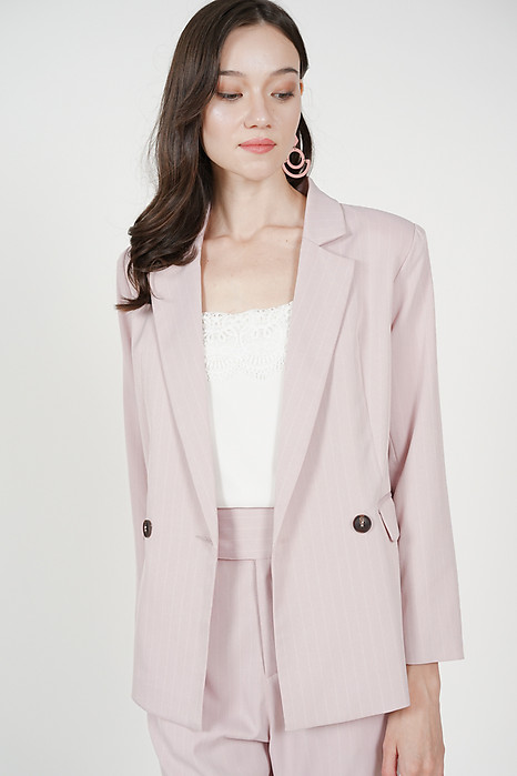 Contemporary Buttoned Blazer in Pink