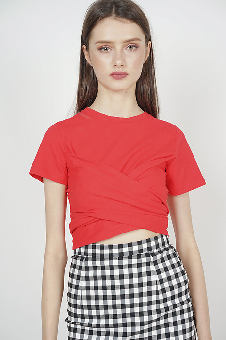 Criss Cross Ruched Top in Red