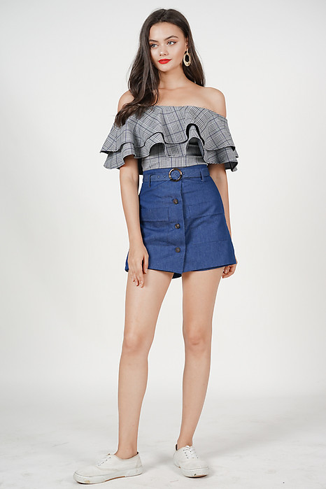 Flounce Off Shoulder Top in Checks
