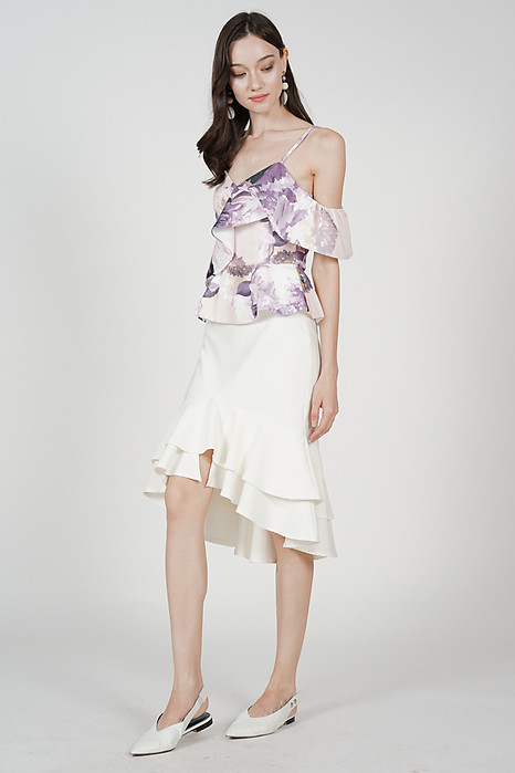 Sheena Frill Top in Mauve Floral