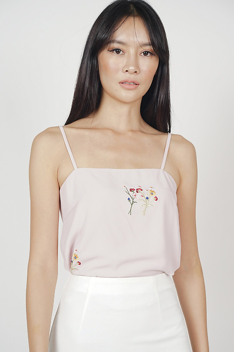 Ellrie Flare Top in Blush Floral