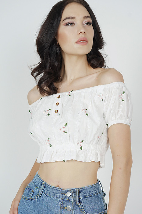 Nahla Cropped Top in White Floral - Arriving Soon