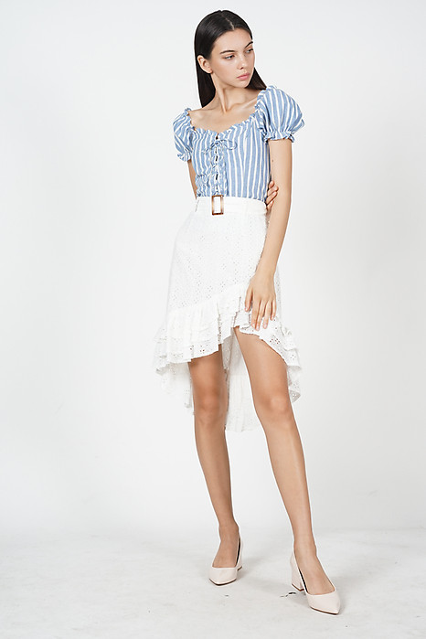 Lace-Up Puffy Top in Blue Stripes