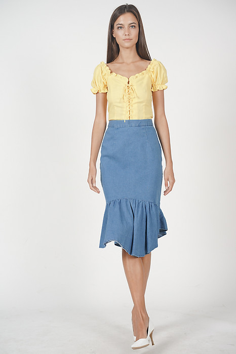 Lace-Up Puffy Top in Mustard - Arriving Soon