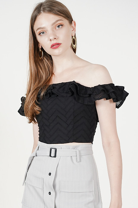 Lana Ruffled Mini Top in Black