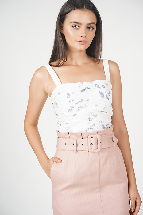 Lalu Ruched Top in White Floral