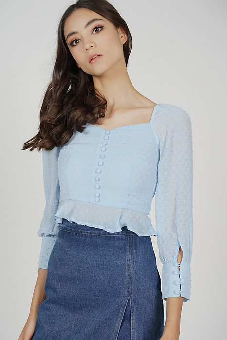 Lorraine Buttoned Top in Ash Blue - Arriving Soon
