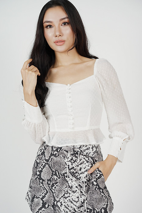 Lorraine Buttoned Top in White