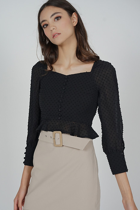 Lorraine Buttoned Top in Black - Arriving Soon