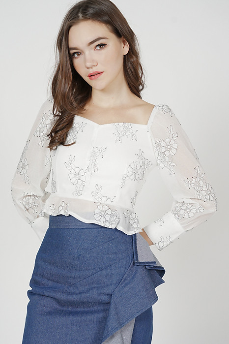 Lorraine Buttoned Top in White Floral - Arriving Soon