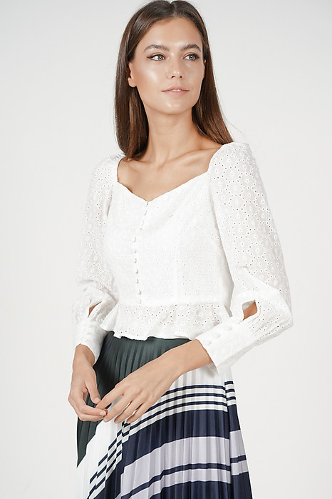 Lorraine Buttoned Top in White - Arriving Soon