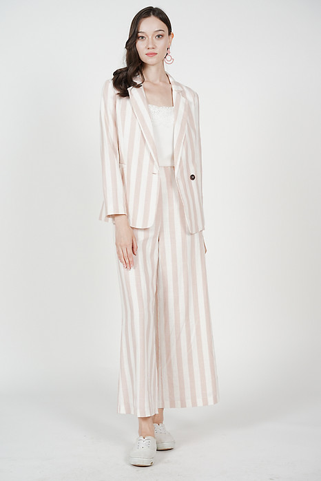 Alber Striped Blazer in Blush White Stripes