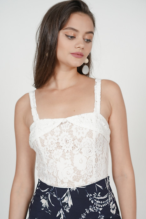 Lace Cutout Peplum Top in White