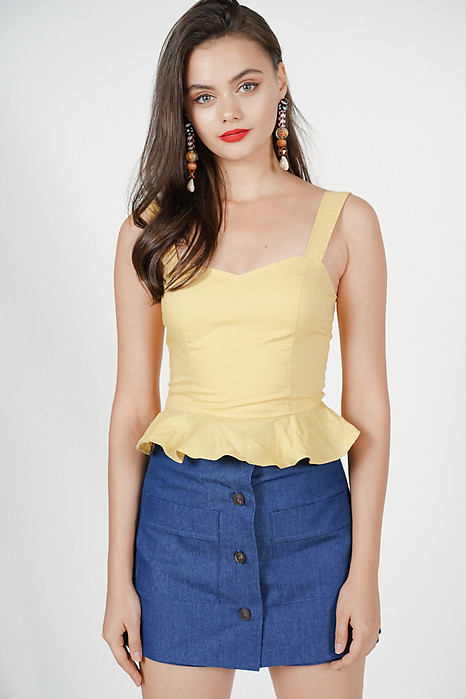 Lissa Frilly Top in Mustard