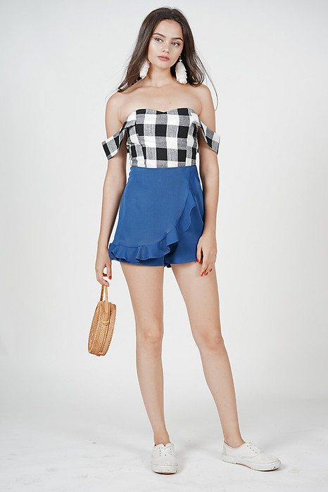 Vella Off Shoulder Peplum Top in Black Gingham