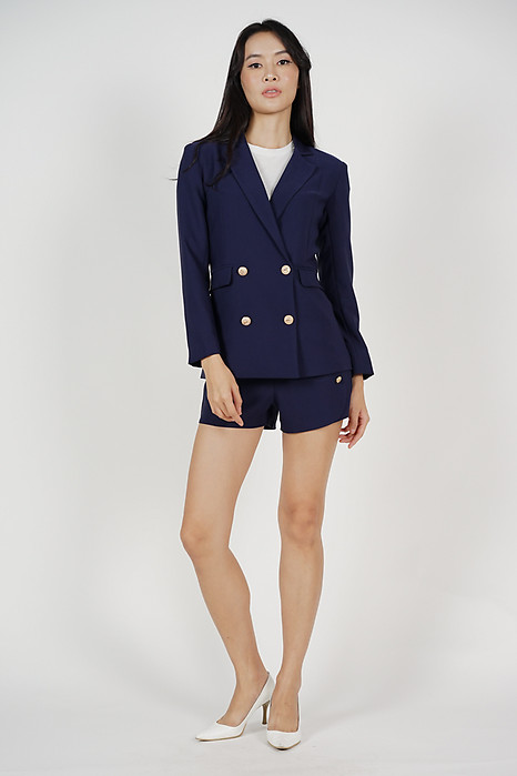 Kelden Buttoned Blazer in Navy - Arriving Soon