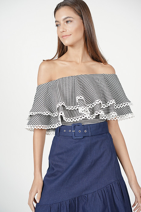 Flounce Trimmed Top in Black Gingham