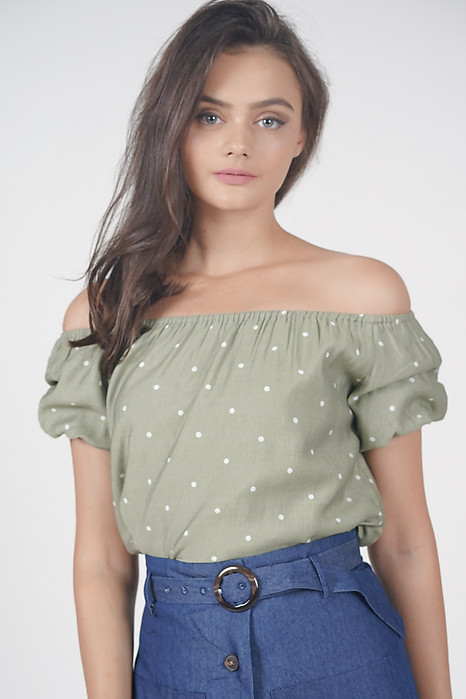 Tifa Dotted Top in Olive - Arriving Soon