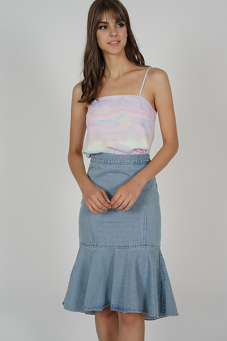 Ellrie Flare Top in Multi Pastel - Arriving Soon