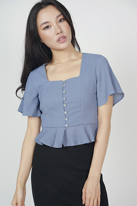 Eddel Buttoned Top in Ash Blue - Arriving Soon