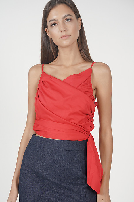 Anamara Wrap Top in Red - Online Exclusive