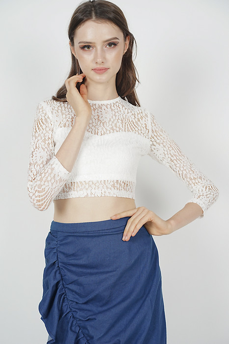 Sheer Lace Top in White