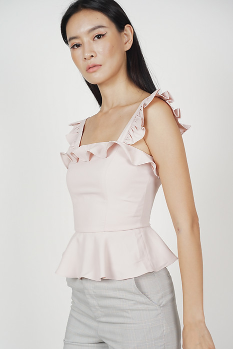 Galia Frilly Peplum Top in Light Pink
