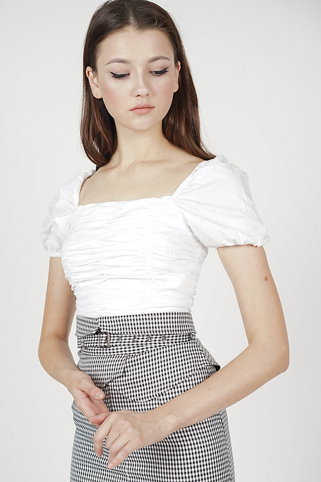 Nyxa Ruched Top in White