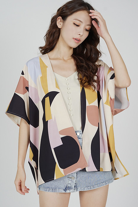 Delrie Kimono Jacket in Beige Abstract - Arriving Soon